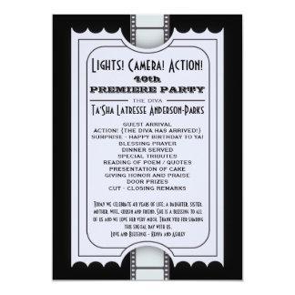 Movie Party Program in Purple Admission Ticket 13 Cm X 18 Cm Invitation Card