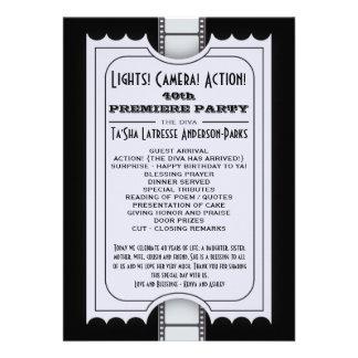 Movie Party Program in Purple Admission Ticket Custom Invites