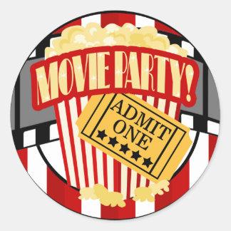 MOVIE PARTY Round Favor Sticker