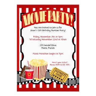 MOVIE PARTY Ticket Birthday Invitations Updated