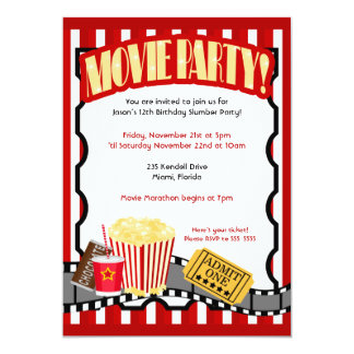 "MOVIE PARTY Ticket Birthday Invitations *Updated* 5"" X 7"" Invitation Card"