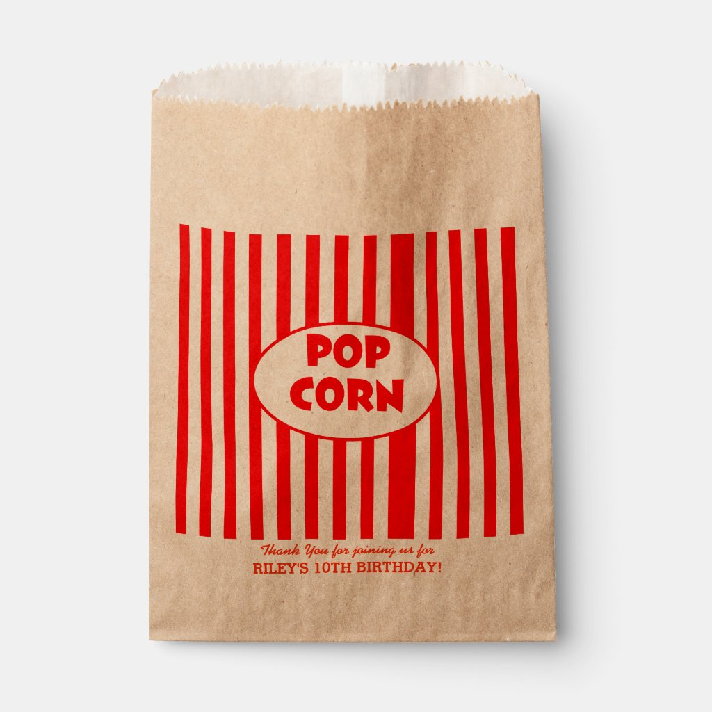 Movie Popcorn Personalised Party Favour Bag For Cinema Kids Birthday Party