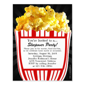 Movie Popcorn Sleepover Custom Party Invitations