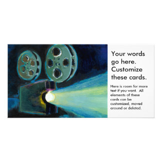 Movie projector colorful expressive painting art customised photo card