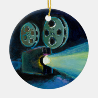 Movie projector colorful expressive painting art round ceramic decoration