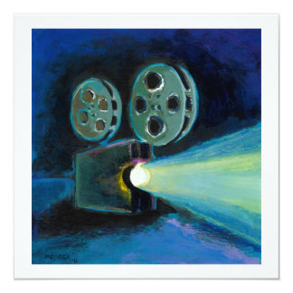"Movie projector colorful expressive painting art 5.25"" square invitation card"