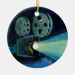Movie projector colourful expressive painting art christmas ornament