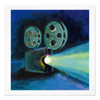 Movie projector colourful expressive painting art personalized announcement