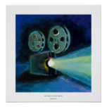 Movie projector colourful expressive painting art poster