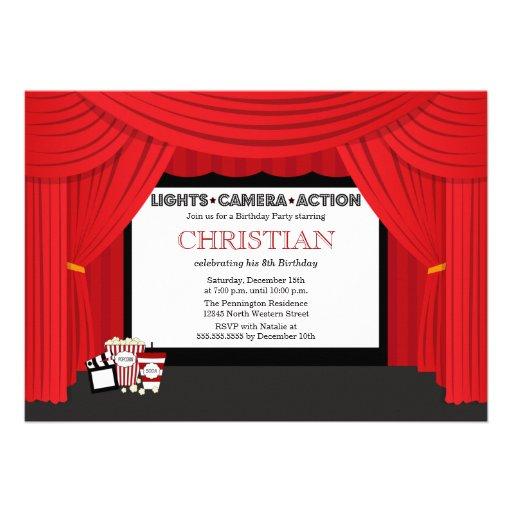 Movie screen and curtain birthday party invitation