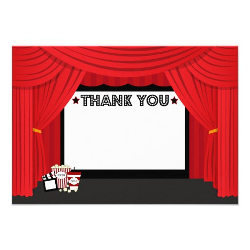 Movie screen and curtain birthday thank you card personalized invitation