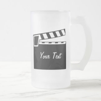Movie Slate Clapperboard Board Frosted Glass Beer Mug