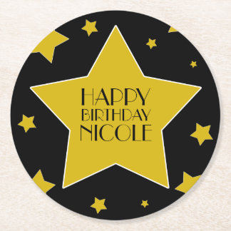 Movie Star Birthday Black And Gold Stars Round Paper Coaster