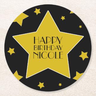 Movie Star Birthday Black And Gold Stars Round Paper Coaster