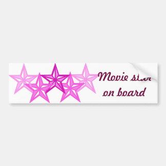 Movie star on board car bumper sticker