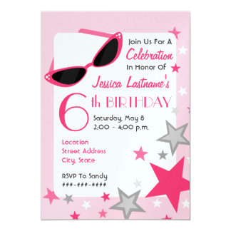 Movie Star Pink Sunglasses & Stars Girl's Birthday Card