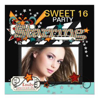 "Movie Star Sweet Sixteen Party Invitations 5.25"" Square Invitation Card"