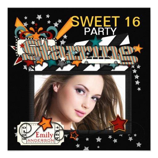 Movie Star Sweet Sixteen Party Invitations