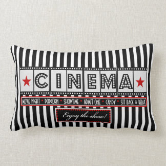 Movie Theater Cinema Stripe Pillow- red accent Lumbar Cushion