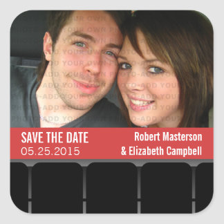 Movie Theater Photo Save the Date Stickers, Red