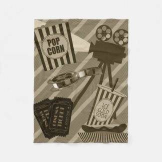 Movie Theater Props Vintage Design Fleece Blanket