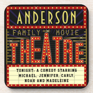 Movie Theatre Marquee Home Cinema | Custom Name Beverage Coasters