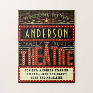 Movie Theatre Marquee Home Cinema | Custom Name Jigsaw Puzzle