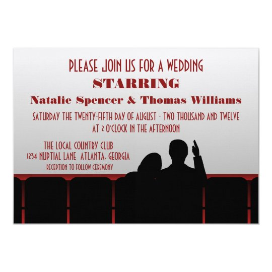 Movie Theatre Wedding Invite, Red Card