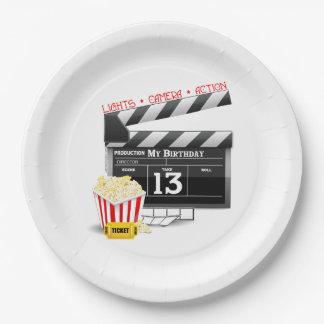 Movie Theme 13th Birthday 9 Inch Paper Plate