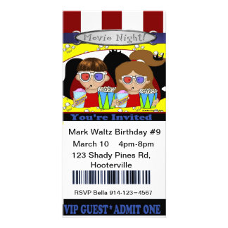 Movie Ticket Invitation Photo Card Template