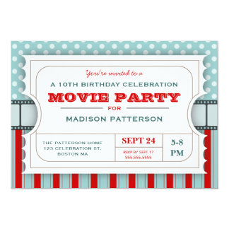 Movie Ticket Party Birthday Party Admission Ticket Card