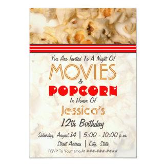 Movies & Popcorn Birthday Party Invitation