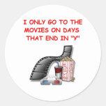 movies round stickers