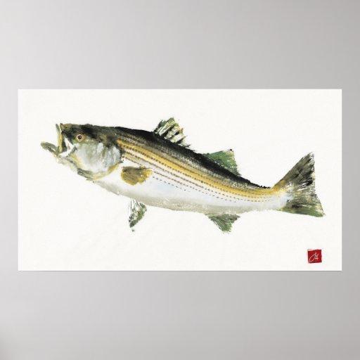 Moving Bass Gyotaku Poster