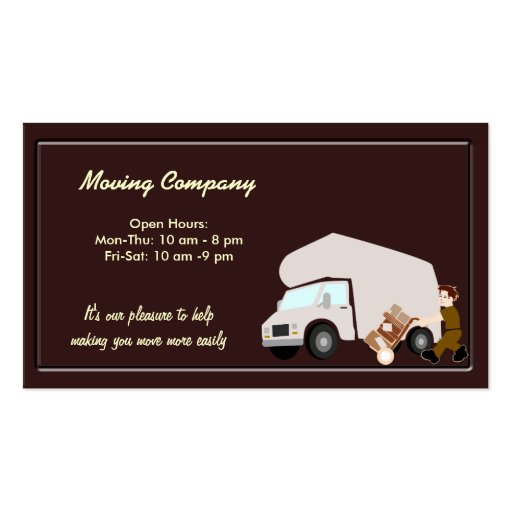 Moving company zazzle for Moving business cards