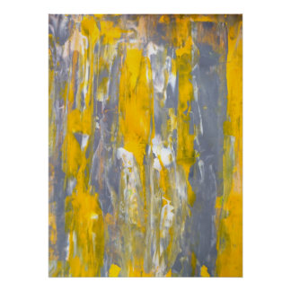 'Moving Forward' Grey and Yellow Abstract Art Poster