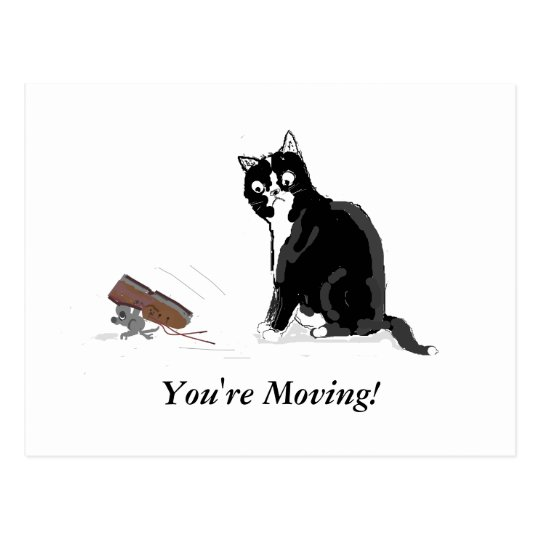 Moving Home, Cartoon cat and mouse, add text
