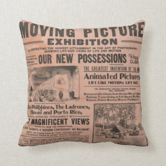 """Moving Picture"" Vintage Newspaper Pillow"