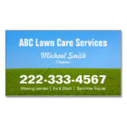 Mowing Lawn Care Green Field Grass Blue Sky Magnetic Business Card