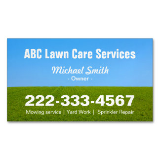 Mowing Lawn Care Green Field Grass Blue Sky Magnetic Business Cards