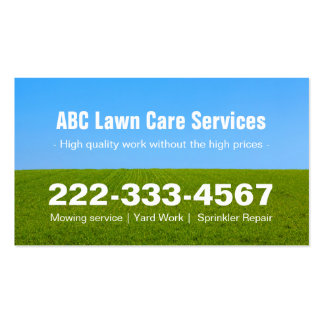 Mowing Lawn Care Green Field Grass Blue Sky Pack Of Standard Business Cards