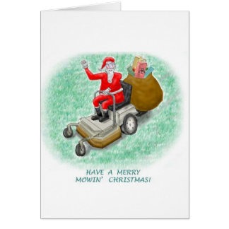 """Mowing Santa"" Vertical Greeting Card"