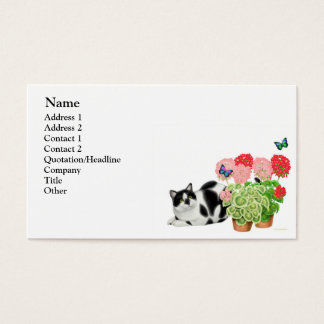 Moxie Cat and Butterflies Business Card