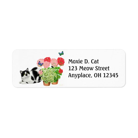 Moxie Cat with Butterflies Label