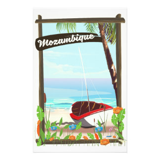 Mozambique Fishing boat cartoon vacation poster Stationery