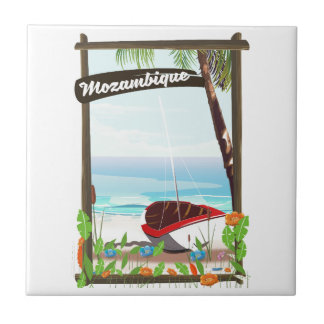 Mozambique Fishing boat cartoon vacation poster Tile