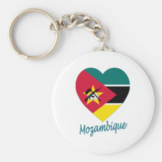 Mozambique Flag Heart Basic Round Button Key Ring