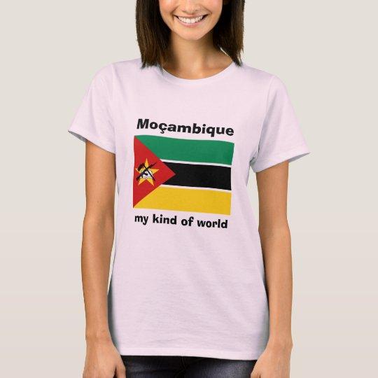 Mozambique Flag + Map + Text T-Shirt