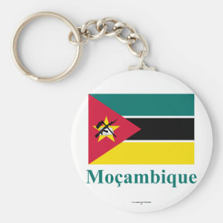 Mozambique Flag with Name in Portuguese Key Ring