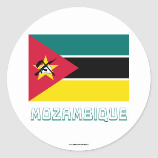 Mozambique Flag with Name Round Sticker